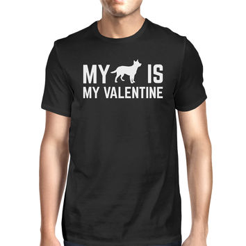 My Dog My Valentine Men's Black T-shirt Cute Graphic For Dog Lovers