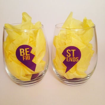 Best Friends wine glass SET of 2, Besties, BFF glasses, Besties wine glasses