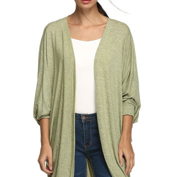 Sleeve None Button Long Cardigan