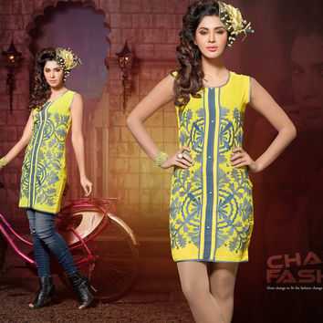 Trendy Indo-Western Designer Tunics with Captivating Thread Embroidery