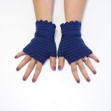 Navy blue short gloves, crochet fingerless gloves, warm wool mittens, wristwarmers, merino wool, choose color