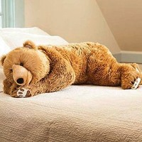 Super-Soft Bear Hug Body Pillow with Realistic Features in Golden Brown