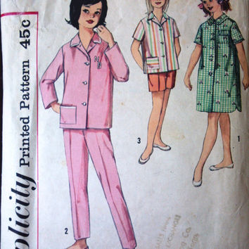 Simplicity 4237 Pattern for Girls' Pajamas, Size 12, Circa 1950s Decade