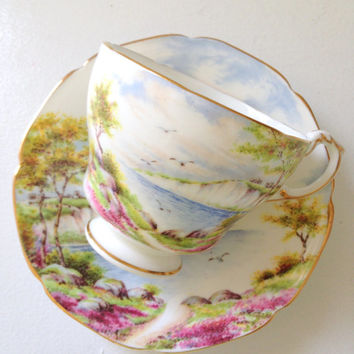 Vintage English Paragon By Appointment to Her Majesty the Queen China Potters Cliffs of Dover Pattern Bone China Tea Cup Duo Ca. 1957-1960's