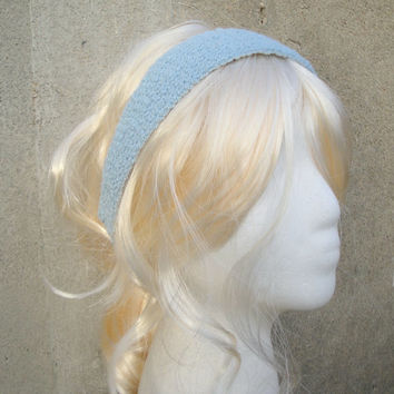 Blue Cotton Headband, Hand Knit, Tie Back, Summer Fashion, Girls, Tweens, Teens