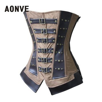 Steampunk Corset Gothic Brown Leather Corset Stud Zipper Overbust Corsets adn Bustiers Lace Up Slimming Shapewear  Corselet
