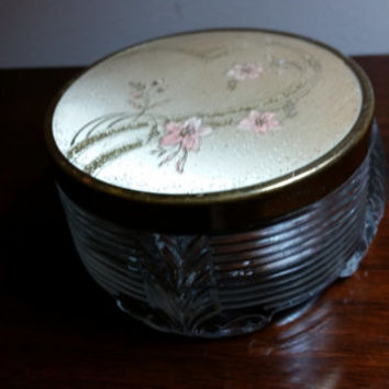 Vintage Art Deco Vanity Box Clear Glass Powder Jar with Decorated Lid