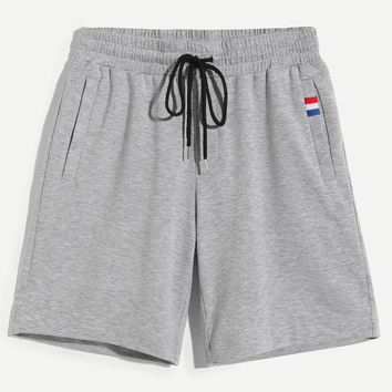 Men Drawstring Waist Heathered Sweat Shorts