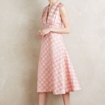 Sugared Hearts Midi Dress by Anthropologie in Pink Size: