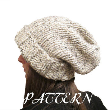 Slouchy Hat Knitting Pattern  - Chunky Slouchy Hat Pattern - Lion Brand Thick & Quick Yarn Pattern - Oatmeal - Download PDF