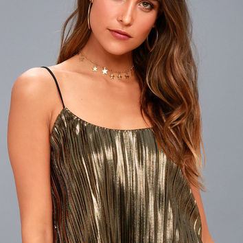 Midnight Kiss Black and Gold Pleated Crop Top