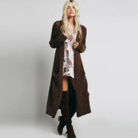 Women Solid Color Long Sleeve Cardigan Long Section Knit Sweater Coat
