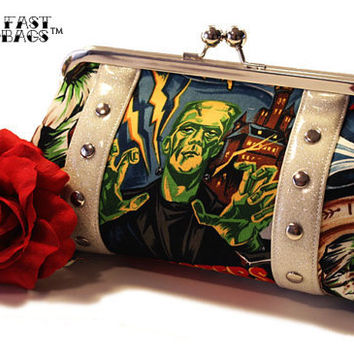 Monster Movie Clutch with Your Choice of Vinyl, Psychobilly Horror Halloween Bag - MADE TO ORDER