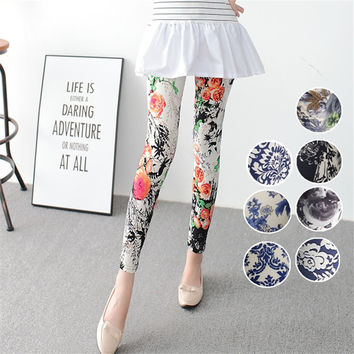 Printed flowers painted leggings ink Chinese style playing Leggings blue and white porcelain soft and comfortable large size