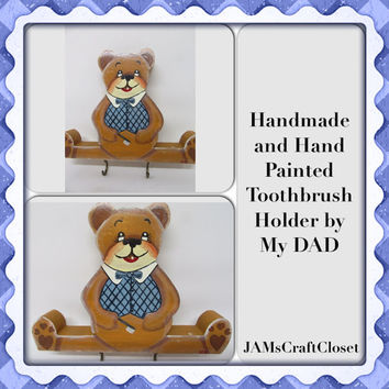 Vintage Handmade Hand Painted Wooden Bear Toothbrush Holder-Childs Bath-Bathroom Decor-Toothbrush-Bear-Gift-Toothbrush Storage-One of a Kind