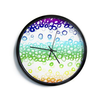 "Emine Ortega ""Pebble Row"" Teal Green Modern Wall Clock"