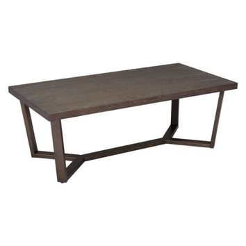 ZUO Modern Brooklyn Coffee Table Gray Oak & A.Brass 100662 Living Consoles