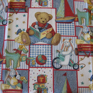 Blue Jean Teddy Bear Patchwork Fabric by Daisy Kingdom – 1 YARD