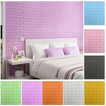 1pc Foam 3D Brick Wall Stickers DIY Self Adhesive Wall Covering Wallpaper for Home Decor TV Background Room Waterproof