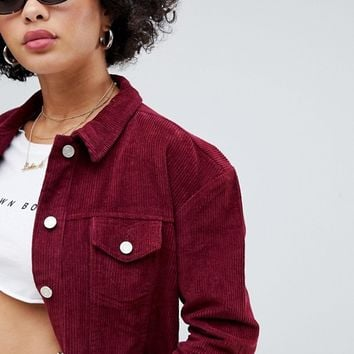 Missguided cord trucker jacket in burgundy at asos.com