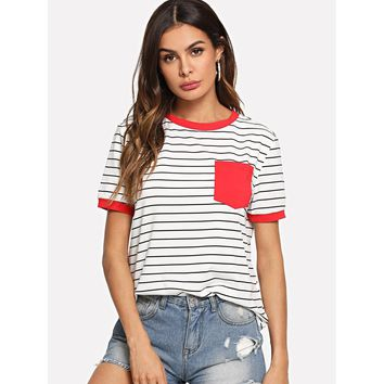 Patch Pocket Striped Ringer Tee Multicolor