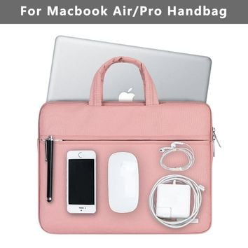 New Waterproof Laptop Bag for Macbook Case Air 13 Pro 13 Retina Bag Women Men Solid 12 13.3 15.6 inch Mac Book Air 13 Case Cover