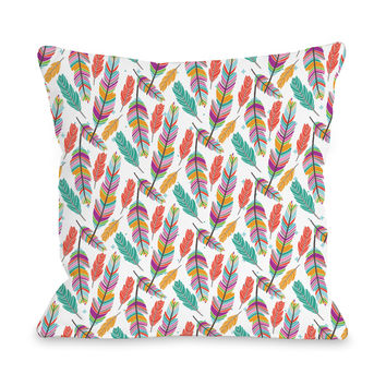 Ruffle Your Feathers - Multi Throw Pillow by Pen & Paint