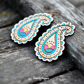 Wood Earrings with Blue Paisley Ornament  - Laser cut & hand painted