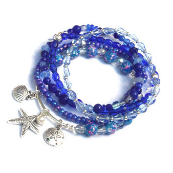 nautical beaded bracelets, starfish charm, starfish jewelry, ocean jewelry, seashell bracelet, beach bracelets, boho beaded, pearl charms