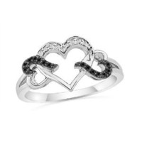 Sterling Silver Black and White Round Diamond Triple Heart Ring (1/10 cttw)