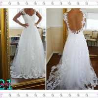 Lace Wedding Dresses, Cheap Sweetheart Lace Wedding Gown, Illusion Neck Lace Wedding Gown, Princess Wedding Gown, Sexy Lace Wedding Gown