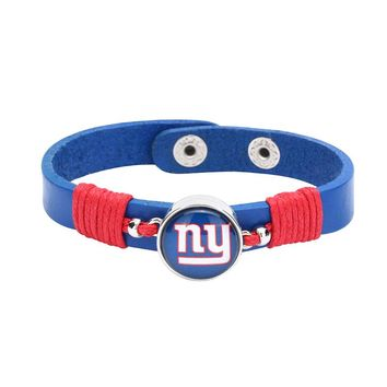 10pcs/lot! Adjustable Premium Leather Ginger Snaps Bracelet with a New York Giants 18mm Snap  for Men,Women and Teens #1046