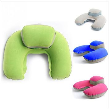 Inflatable U-Shaped Neck Pillow With Raised Headrest