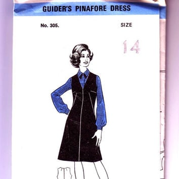 Girl guide uniform vintage sewing pattern. Guider's Pinafore Dress 305. Uncut with factory folds. Size 14 Bust 36""