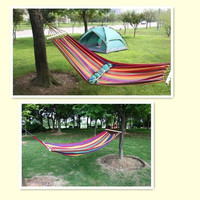 Canvas Hammock Portable Strips Outdoor Garden Camping Sleeping Beach Travel Single Fabric = 1705723844