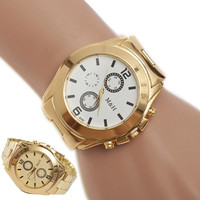 Stainless Steel Sport Quartz Wrist Hour Gold Bracelet Big Dial Watch = 1956424388