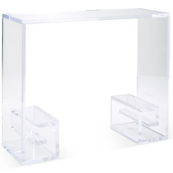 "Greek Key 41"" Console, Clear, Acrylic / Lucite, Console Table"