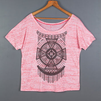Women's Off The Shoulder Tribal Top- Geometric Arrow Tee Tshirt- Loose Fitting T Shirt- Aztec Graphic Tee- Women's Native Design Top