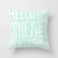 hello. Throw Pillow by Pink Berry Patterns