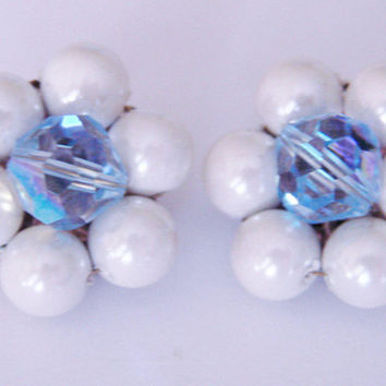 Vintage Cluster Blue Crystal & Pearl Earrings / 1950s 1960s / Clip Earrings / Retro Earrings / Jewelry / Jewellery