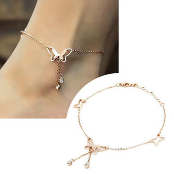 1Pcs Tassel Anklets Casual Beach Vacation Anklets Bracelets Jewelry Ankle chain New Butterfly Single Rose Gold Tassels hot