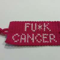 Fu*k Cancer Pink Mug Cozy - Handmade Crochet Coffee/Tea Cup Cozy - Breast Cancer Awareness - Crafts for a Cause