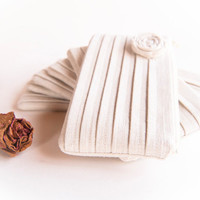 Ivory bridal clutch Rustic Wedding Clutch Bridesmaid Gift Idea Clutch Purse Bag Zipper in Papyrus Ivory White Rose