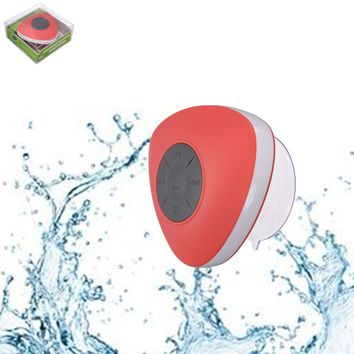 ELEGIANT Mini Wireless Bluetooth Portable Waterproof Shower Speaker Mic Handsfree Suction red