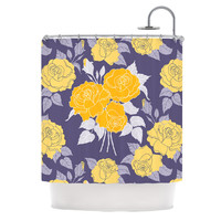 "Anneline Sophia ""Summer Rose Yellow"" Purple Lavender Shower Curtain"