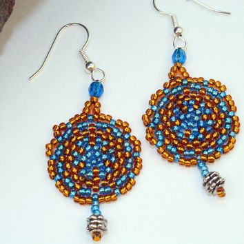 Blue and brown seed bead woven earrings, dangle peyote stitch disc, handmade