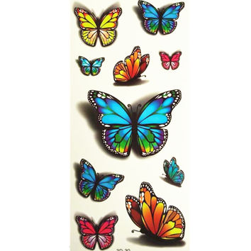 3D Lifelike Pretty Temporary Tattoo  Big and Small Butterfly 19X9CM