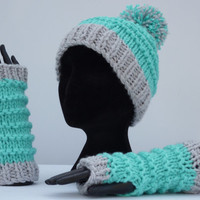 Knitted Bobble Hat and Arm Warmers mittens Gloves, Knitted Hat and Arm Warmers, PomPom Hat, Winter Hat