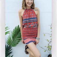 {REVERSE} ISLAND NIGHT DRESS- RED PRINT