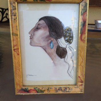 RC GORMAN Framed & Matted Lithograph Native American Navajo Lady